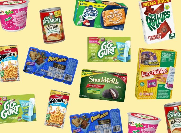 various snacks from the 90s
