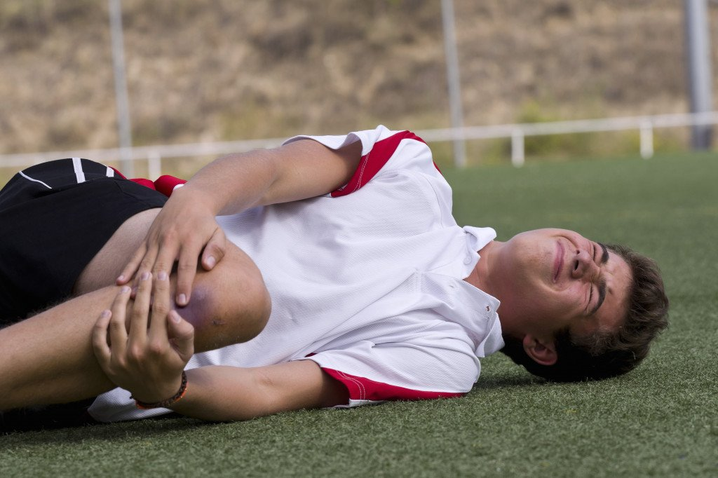 football player with injury